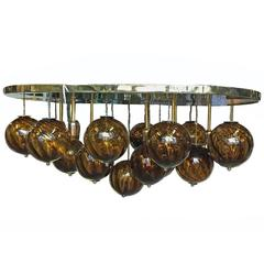Italian Moderne Oval Light Fixture with Amber Glass Globes