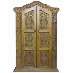Carved Repurposed Antique Wood Wardrobe TV Cabinet