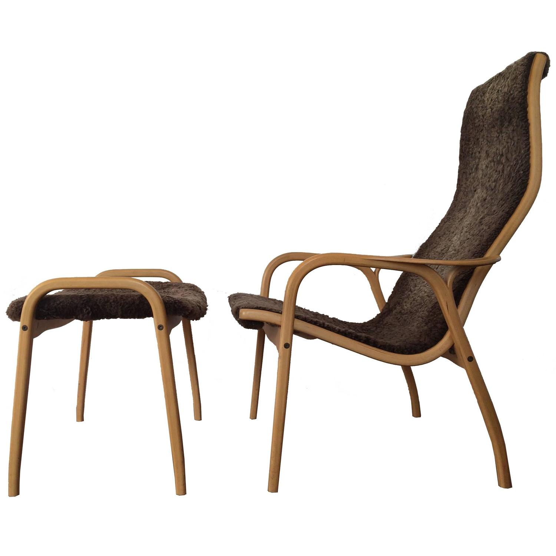 Yngve Ekström Lamino Chair and Ottoman for Swedese Mobler at 1stdibs