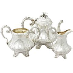 Sterling Silver Three Piece Tea Service, Antique Victorian