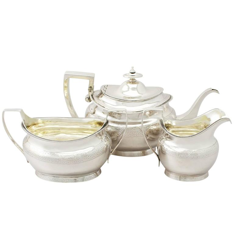 Sterling Silver Three Piece Tea Service with Matching Tea Pot Stand Antique
