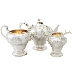 Antique Victorian Sterling Silver Three Piece Tea Service