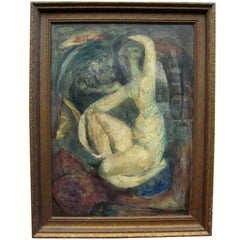 1960 Marco Zubar Modernist Female Nude Painting