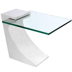 Chic Cantilevered Side Table in Polished Stainless Steel