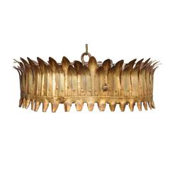Vintage Spanish Gilt Metal Three-Light Crown Chandelier with Frosted Glass