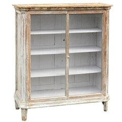 French Mid-19th Century Painted Cabinet with Chicken Wire Doors