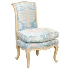 French Painted Slipper Chair in Fortuny Fabric