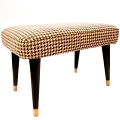 1950s Atomic Age American Modern Ottoman Footstool Upholstered in Houndstooth