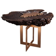 """Burl"" Side Table in Bronze and Smoked Walnut by Studio Roeper"