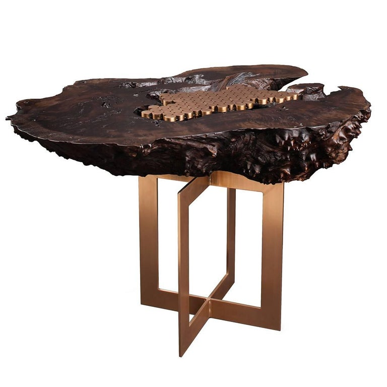 """""""Burl"""" Side Table in Bronze and Smoked Walnut by Studio Roeper For Sale"""