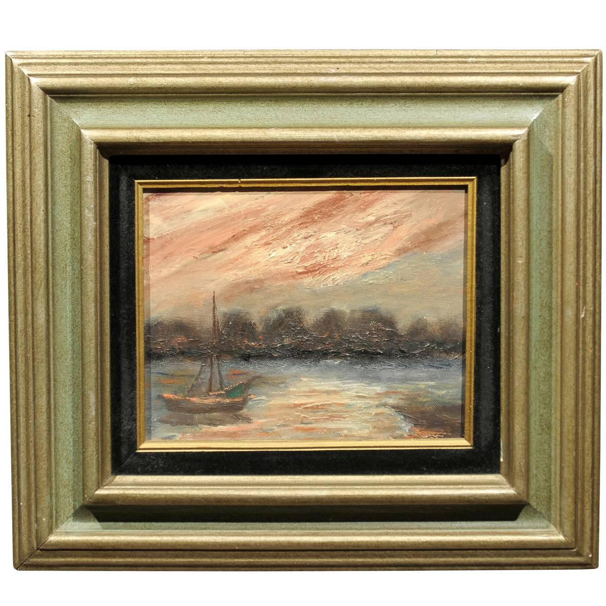 20th Century Impressionist Sailboat Painting