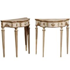 Pair of Italian Petite Painted and Silvered Neoclassical Consoles, Naples