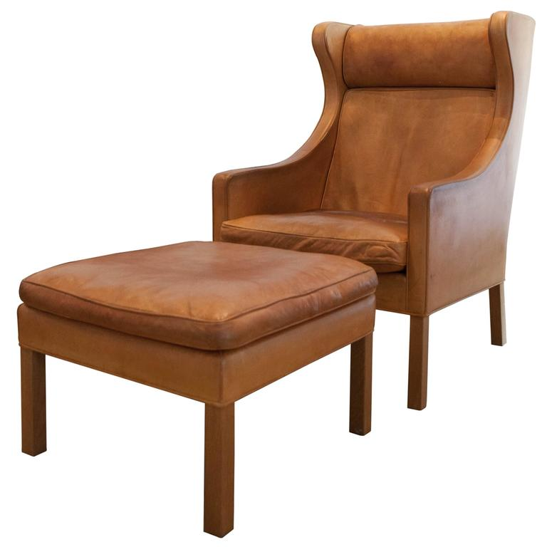 Børge Mogensen Wing Chair and Ottoman Denmark 1969 at
