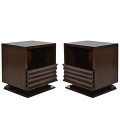Mid-Century Modern Sculptural Nightstands in Stained Mahogany