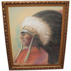 Signed and Dated 1935 Pastel Indian Chief