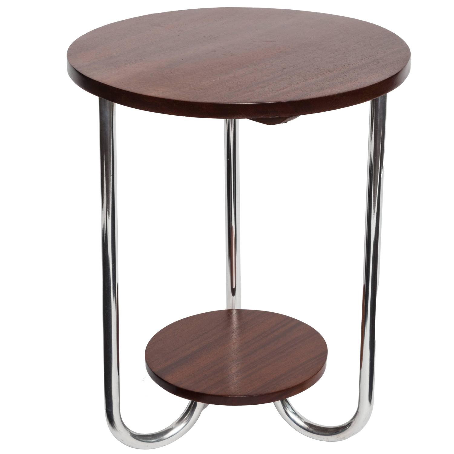 Mid Century Modern Walnut And Chrome Side Table At 1stdibs