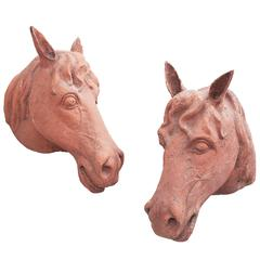 Pair of Continental Terracotta Wall Mounted Horses Heads c1850