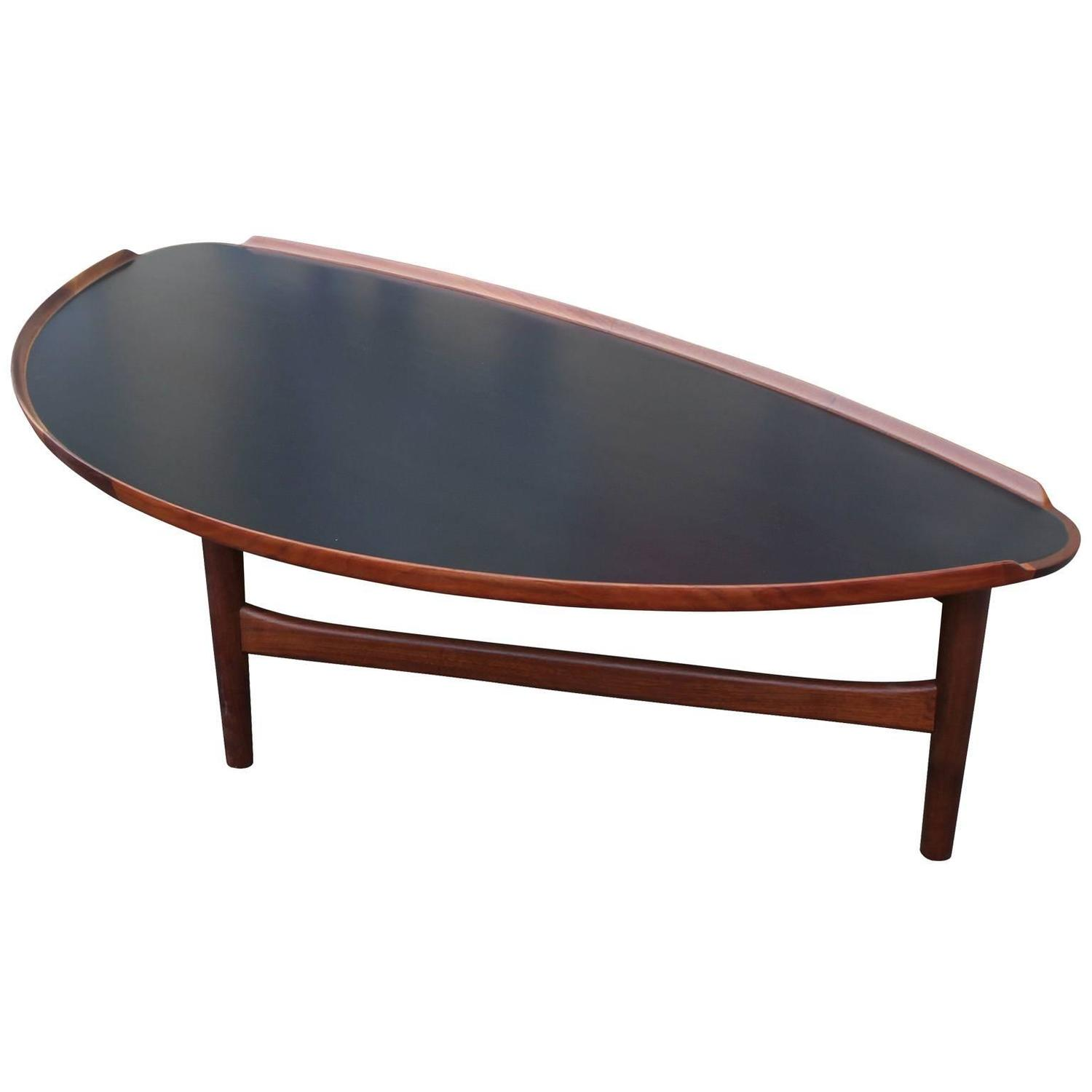 Oragnic Finn Juhl For Baker Two Tone Walnut Coffee Table At 1stdibs
