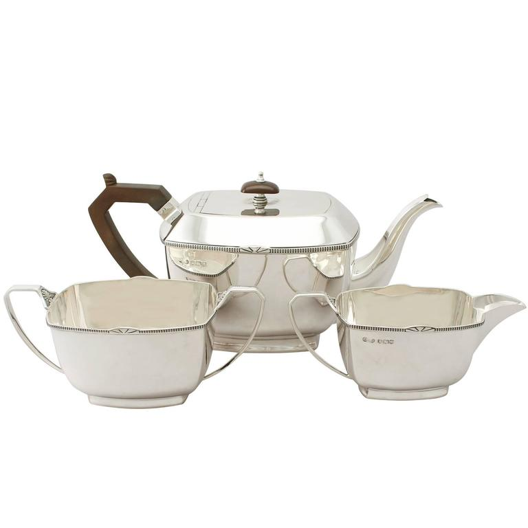 Sterling Silver Three-Piece Tea Service, Art Deco Style, Antique George V