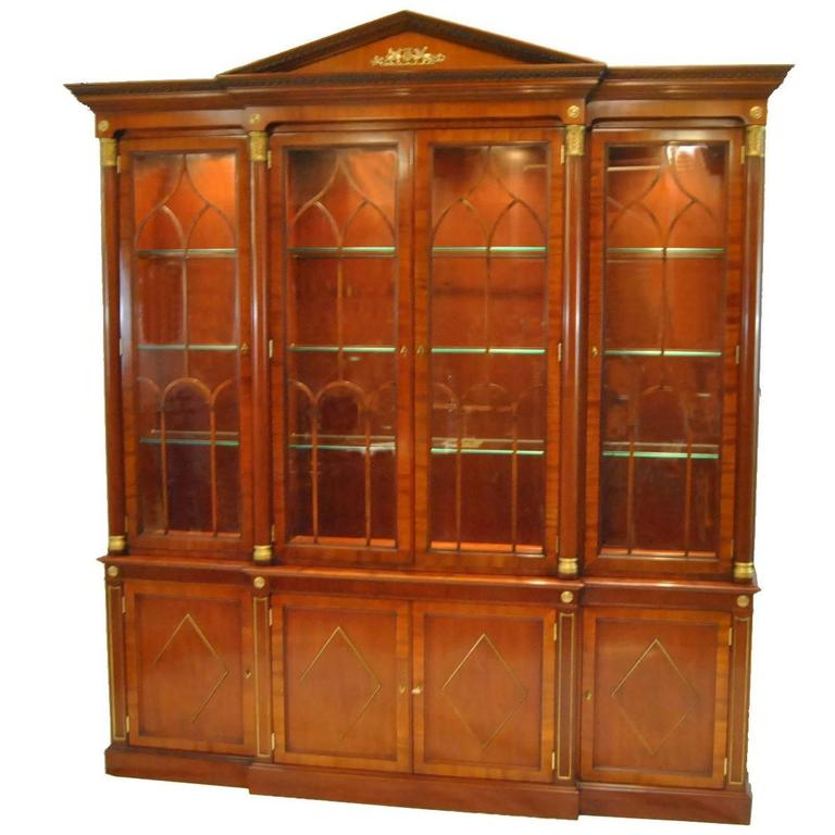 Kindel Neoclassic Mahogany Breakfront China Cabinet For Sale At 1stdibs
