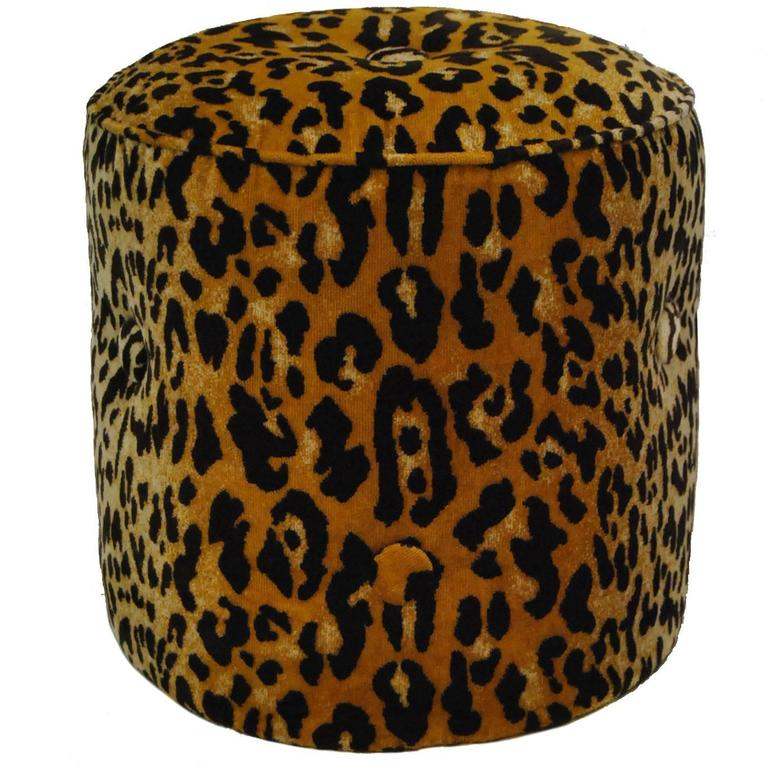 Elsie Tabouret Animal Print Ottoman Or Stool By Tony Duquette For Baker No 1697 At 1stdibs