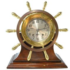 Chelsea Ship's Bell Yacht Wheel, Pilot Model Clock with Stand