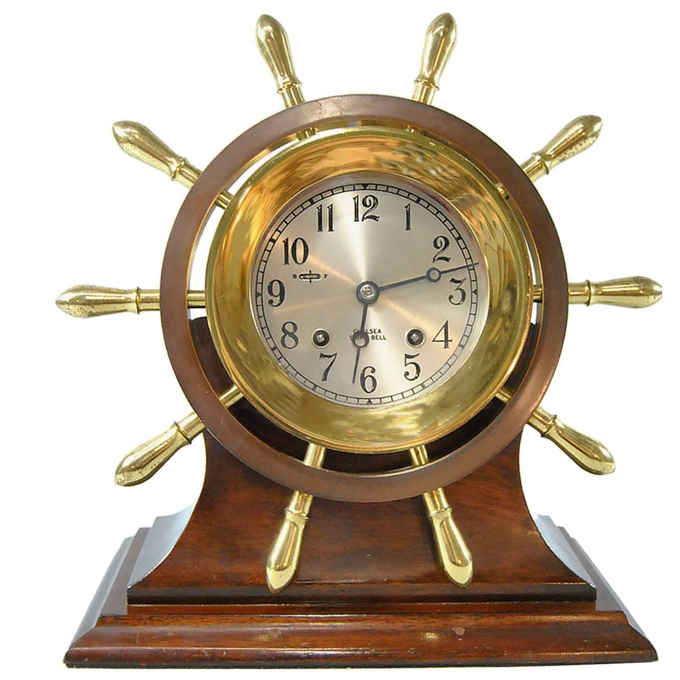 chelsea ships clock chelsea ship s bell yacht wheel pilot model clock with 2138