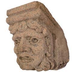 Decorative Carved Granite Face Keystone