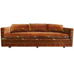 Midcentury Dunbar Attributed Sofa in Jack Lenor Larsen Fabric