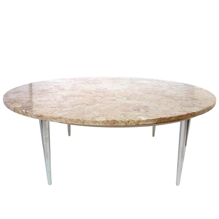 Mid Century Two Tone Coffee Table By Weiman: Midcentury Weiman Round Travertine Cocktail Table At 1stdibs
