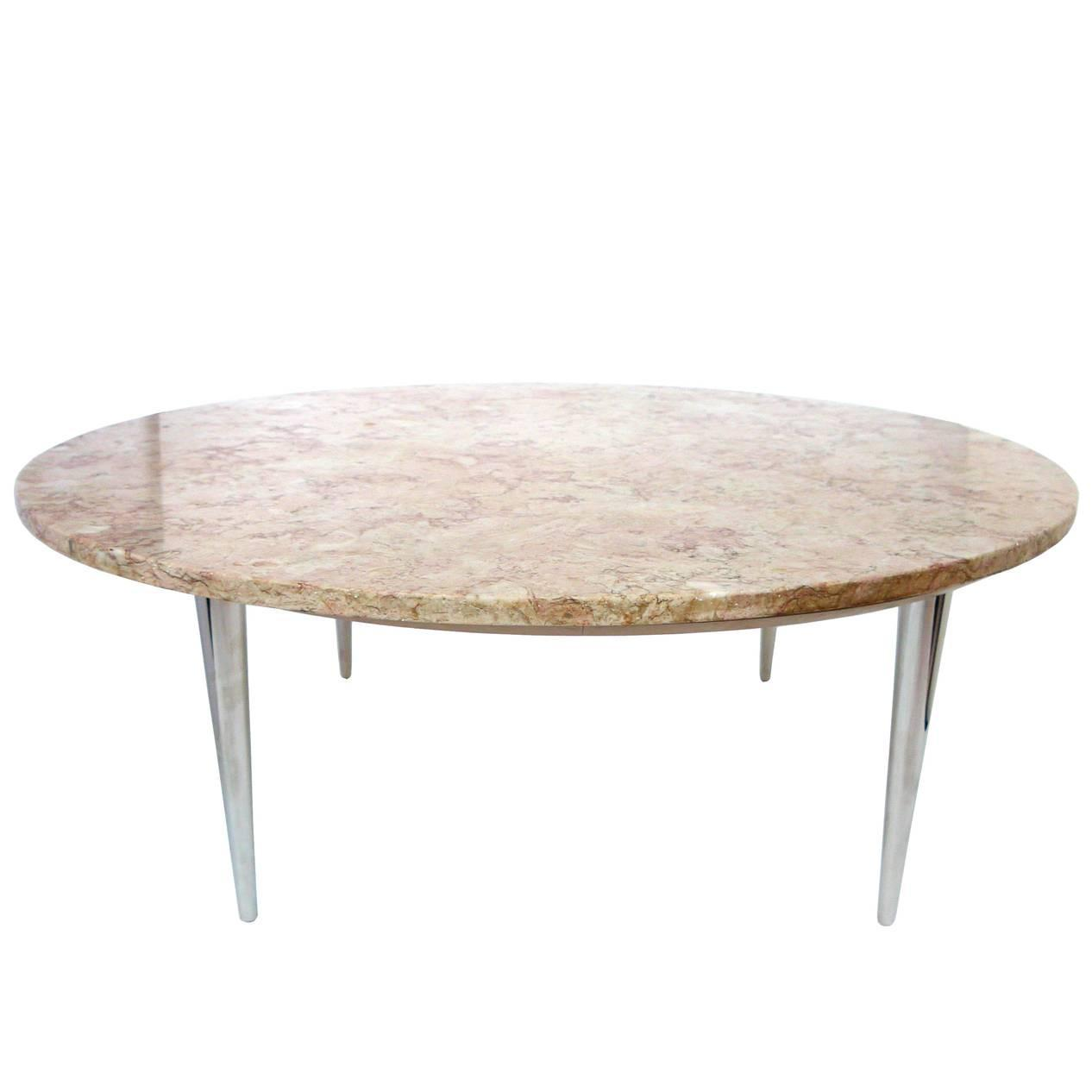 Midcentury Weiman Round Travertine Cocktail Table At 1stdibs