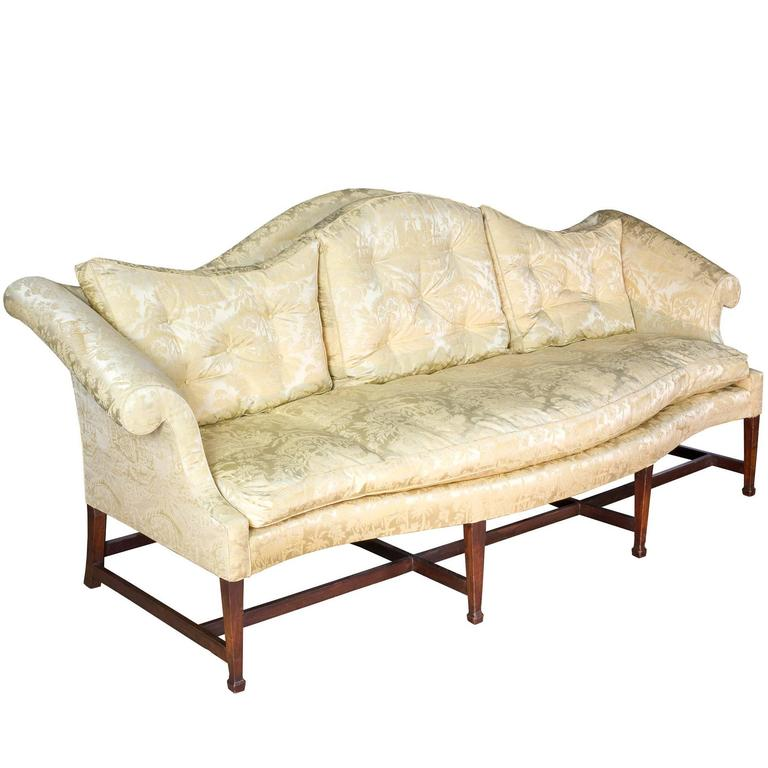 Mahogany Hepplewhite Camelback Sofa With Serpentine Back And Seat With  Spade Fee For Sale