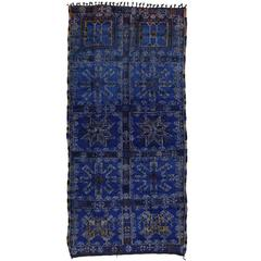 Mid-Century Modern Berber Moroccan in Cobalt Blue by Beni Ourain