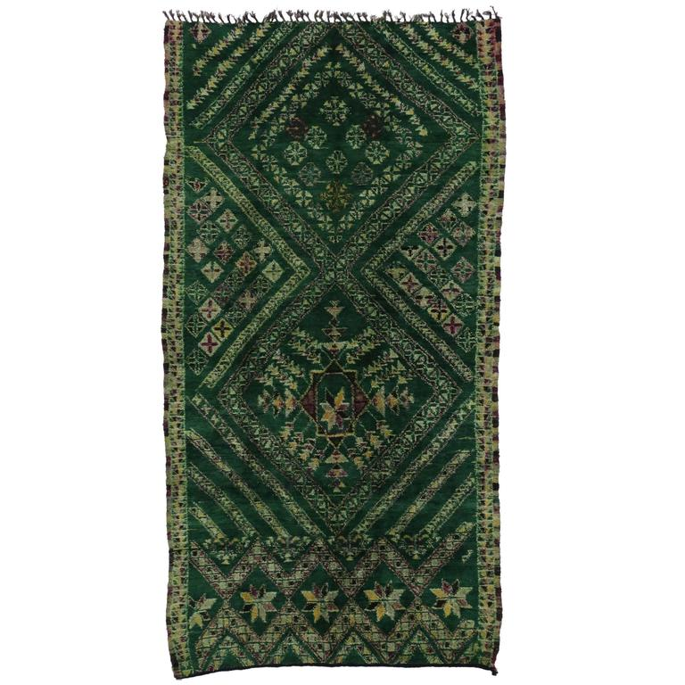 Vintage Beni Ourain Green Moroccan Rug with Modern Tribal Style