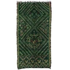 Vintage Green Beni Mguild Rug, Berber Moroccan Rug with Tribal Style