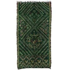 Vintage Berber Moroccan Rug with Tribal Style, Green Beni Mguild Carpet
