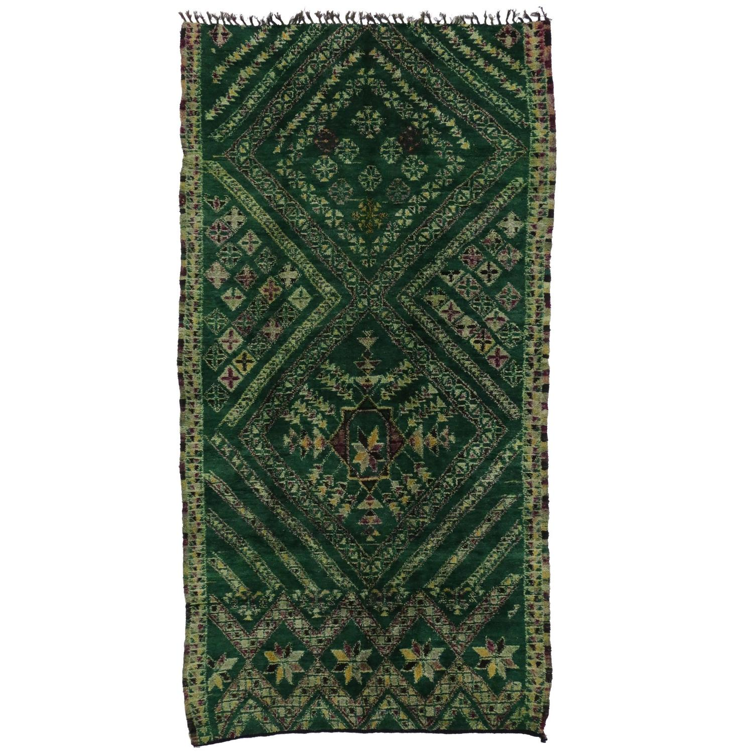 Vintage Berber Moroccan Rug In Green By Beni Ourain For
