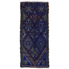Vintage Berber Moroccan in Cobalt Blue by Beni Ourain