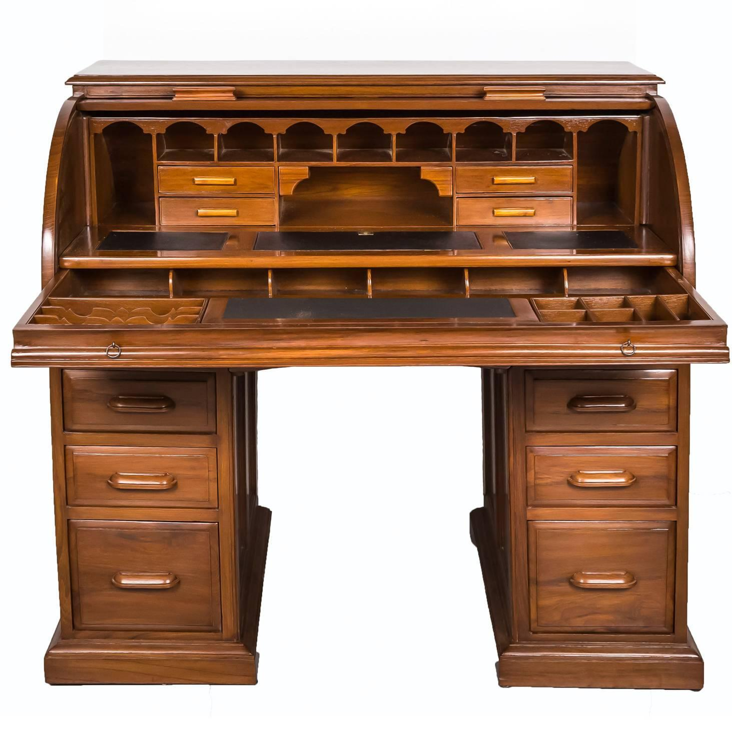 Antique Anglo Indian Or British Colonial Teakwood Cylinder Desk For Sale At 1stdibs