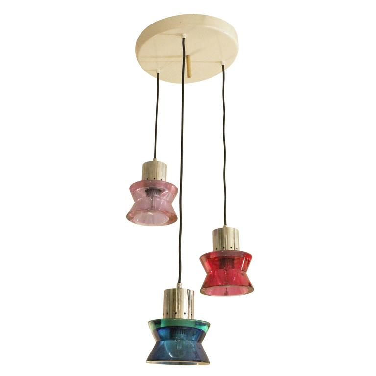 Three Pendant Murano Glass Fixture by Seguso, Italy, 1960s For Sale