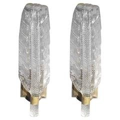 Pair of Murano Glass Leaf Sconces by Barovier e Toso