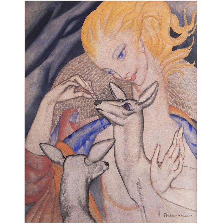 """""""Female Nude with Deer,"""" Arresting Art Deco Painting by WPA Artist For Sale"""
