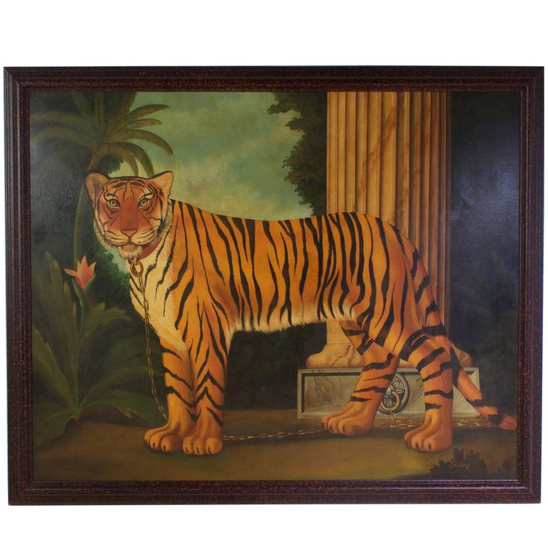 William Skilling Oil on Canvas Painting of a Tiger