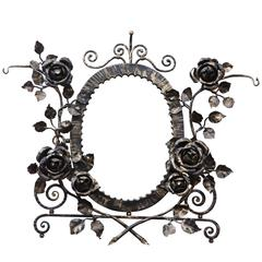 French Art Deco Wrought Iron Floral Wall Mirror