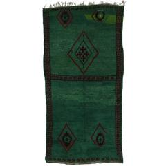 Green Beni M'guild Moroccan Rug in Malachite Color with Tribal Style