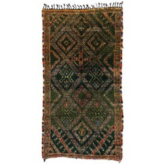 Vintage Green Beni M'Guild Rug, Berber Moroccan Rug with Tribal Style