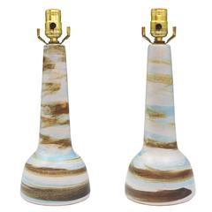 Pair of Gordon Martz Ceramic Table Lamps with Swirled Matte Glaze