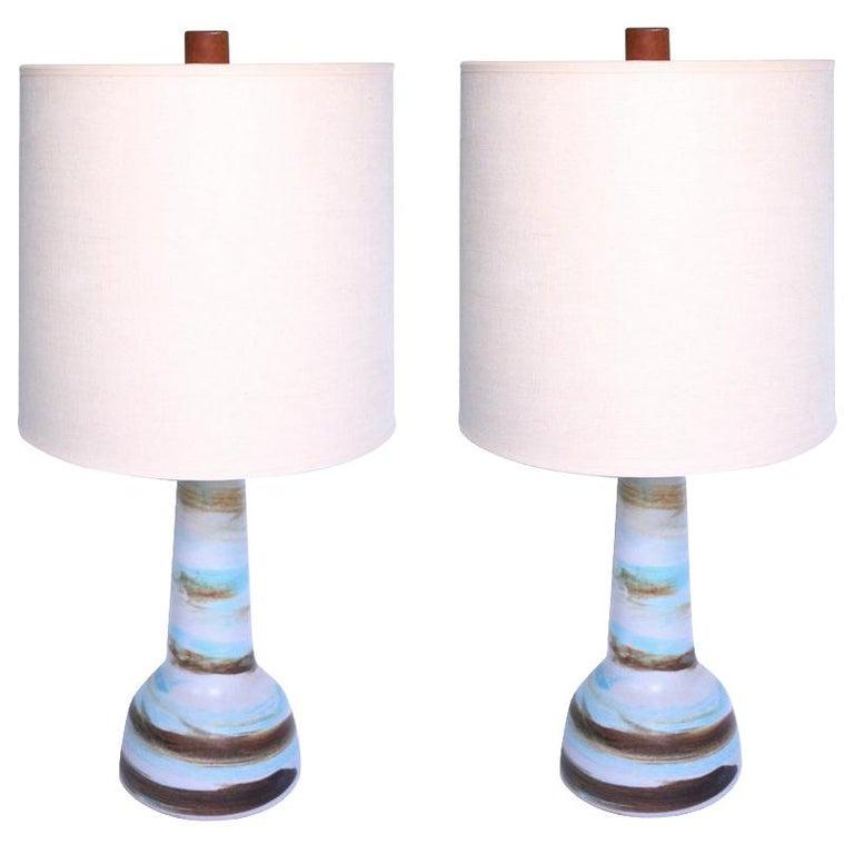 Gordon Martz for Marshall Studios Ceramic Table Lamps with Swirled Matte Glaze