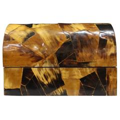 Domed Decorative Box in Horn Patchwork Veneer