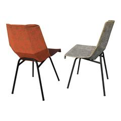 Pair of Cubist Steel and Moleskine Chairs, France, 1960s